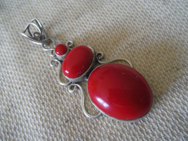 """925 Sterling Silver Red Coral Pendant 2 3/8"""" - $155.47"""