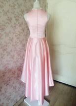 Vintage Blush Pink Taffeta High Low  Prom Dress Blush Sleeveless Wedding Dresses image 3