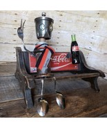 Found Object Folk Art Robot in a Scarf with a Cola  Sculpture - signed S... - $197.80