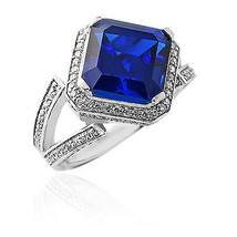 5.46CT Women's Unique 14K White Gold Plated Asscher Cut Blue Sapphire Ring  - $157.41