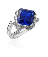 5.46CT Women's Unique 14K White Gold Plated Asscher Cut Blue Sapphire Ring  - $157.41