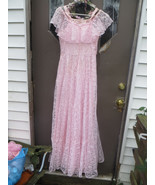 gorgeous 1970 womens pink lace maxi party prom evening  dress  gown  w s... - $46.50