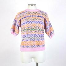 Vtg 90s Multi Color Sweater Double Knit Jumper Womens M Crew Neck Short ... - $11.87