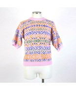Vtg 90s Multi Color Sweater Double Knit Jumper Womens M Crew Neck Short ... - $11.87