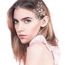 Rose Gold Hair Pin Barrette Flower Hair Clip Bridal Wedding Headpieces, Rhinesto