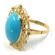 18K YELLOW GOLD RING, CABOCHON OVAL TURQUOISE WORKED FLOWER FRAME, MADE IN ITALY image 3