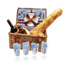 NEW! Picnic Basket 4 Person Hamper With Glasses Tableware And Blanket  - €52,55 EUR