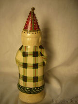 Vaillancourt Folk Art Father Christmas in Plaid with Ski Stocking & Bell Signed image 3