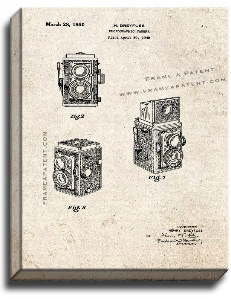 Primary image for Photographic Camera Patent Print Old Look on Canvas