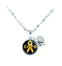 Custom COPD Awareness Yellow Ribbon Silver Necklace Jewelry Initial Family Gift - $13.94