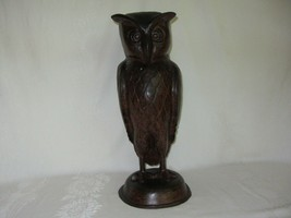 "Large Vintage Hollow Metal Owl Figurine Art Sculpture Statue Indonesia 16"" - $79.19"