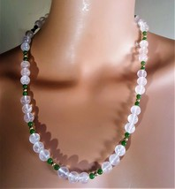 "Vintage Pale Pink & Green  Quartz Beaded Necklace 23""L - $18.00"