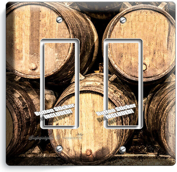 RUSTIC VINAGE WINERY CELLAR WOOD WINE BARREL 2 GFCI LIGHT SWITCH PLATE ART DECOR