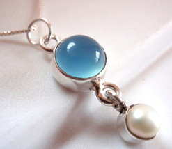 Chalcedony and Dangling Freshwater Pearl  Necklace 925 Sterling Silver New - $22.72