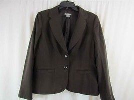 Ann Taylor Petite Stretch 12P Brown Lined Career Jacket LS Two Button Wool - $4.74