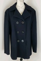 Lands' End Size Medium Black Fully Lined Double Breasted Wool Peacoat (BR) - $42.74