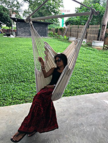 Large Brazilian Hammock Chair by Hammock Sky - Quality Cotton Weave (Natural)