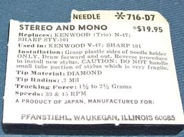 PHONOGRAPH TURNTABLE STYLUS NEEDLE for Kenwood/Trio N47 V47 Sharp STY-101 716-D7 image 3