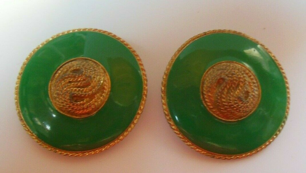 Primary image for Vintage Signed Mystique Large Green Enamel Round Clip-on Earrings