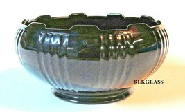Black Imperial Glass Bowl Alternating Flute And Pane Cupped  Edge Tab Vintage - $24.99
