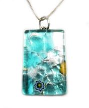 """Vetro Di Murano Glass Pendant Necklace Made in Italy 18"""" Sterling Silver... - $41.58"""
