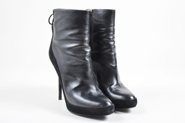 Christian Dior Black Leather Suede Lace Up Heeled Ankle Boots SZ 40 - £194.94 GBP