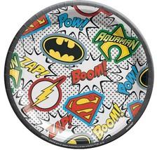 Heroes Unite Justice League Dessert Plates 8 Per Package Birthday Party Supplies - $3.47