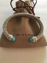 Pre Owned David Yurman 7mm Bracelet Sterling Silver Diamond Turquoise Cable Clas - $650.00