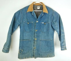 VTG LEE Men's 60s-70s Medium Wash Denim Distressed Blanket Chore Coat Sz... - $136.13