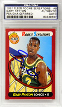 Gary Payton Signed Seattle Supersonics 1991 Fleer Rookie Sensations Trad... - $95.00
