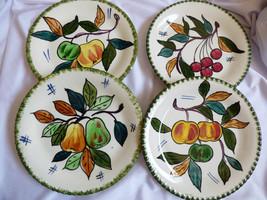 Italy PV hallmark Pottery Ceramic Lot of 4 Plates Fruit Apple Cherry Pea... - $25.74