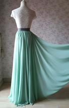 Boho Wedding Bridesmaid Dress Chiffon Maxi Skirt Short Sleeve Crop Lace Top  image 11