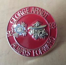 "George Arndt Honor Guard Bulldog 92-93 Lapel Pin Red Gold 1"" Diameter - $12.86"