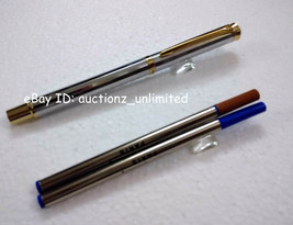 Pierre Cardin Cristal White Gold Finish Roller Ball Point Pen Red Crysta... - $14.99