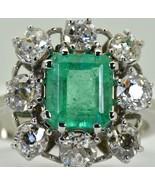 Magnificent certified 1.84ct Colombian Emerald&Diamonds Art-Deco 18k w.g... - $9,800.00