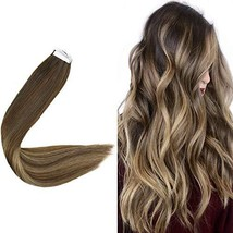 "Easyouth Remy Human Hair Tape in Hair Extensions 22"" Brown Fading to Goden Blond"