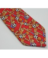 City Streets Clip On Neck Tie Silk Sports Coach Player Red Balls - $12.12