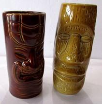 """Lot of 2 Barware Faux Tiki Glasses Mugs Brown Gold 6.5""""T X 3""""W Ceramic S... - $13.86"""