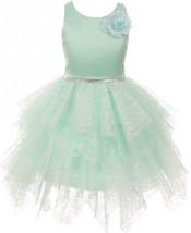 Flower Girl Dress Lozenge Cut Tiered Tull Overlay Lace Mint KK 6405 - $46.00