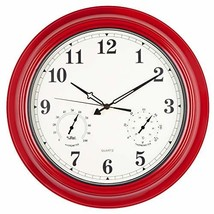 Large Waterproof Outdoor Clock, 18 inch Wall Clock with Thermometer and ... - $61.05