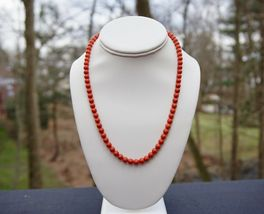 Mediterranean Coral Beads 6.5 mm Necklace Sterling Vermeil Clasp 18 inches 26.3g - $599.99