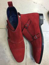 Maroon Red Tone Superior Suede Leather Cap Toe High Ankle Customized Monk Boots image 2