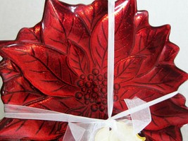4x Turkish Glass Ruby RED Glittery Poinsettia Christmas Salad Dessert Pl... - $39.59