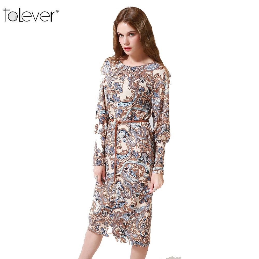 Talever Women Dress Casual Long Puff Sleeve O-Neck Plus Size Dresses Ladies Spri image 4