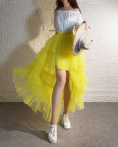High Low Tulle Skirt Long Layered Tutu Skirt Outfit Plus Size Yellow Hi Low image 8