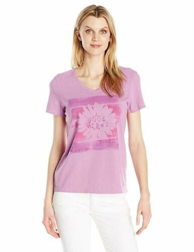 Small 4-6 Life is Good Women's Crusher V-Neck Tee T-Shirt Shirt Dusty Orchid NEW