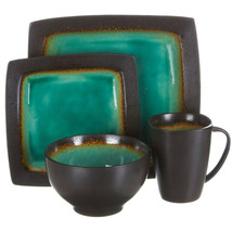 Ocean Paradise 16-Piece Square Reactive Dinnerware Set, Jade - $122.25