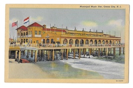 Ocean City NJ Music Pier Resort Amusement Vintage Linen New Jersey Postc... - $4.95