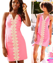 $198 Lilly Pulitzer Pearl Bungalow Pink Metallic Gold Lace Shift Dress - $166.50