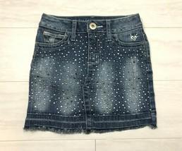 Justice Girl's Blue Jean Skort Size 10S Embellished Beads Stretch Denim ... - $12.55